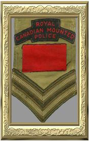 Photo of original RCMP (Provost) shoulder flash and rank on an armlet.