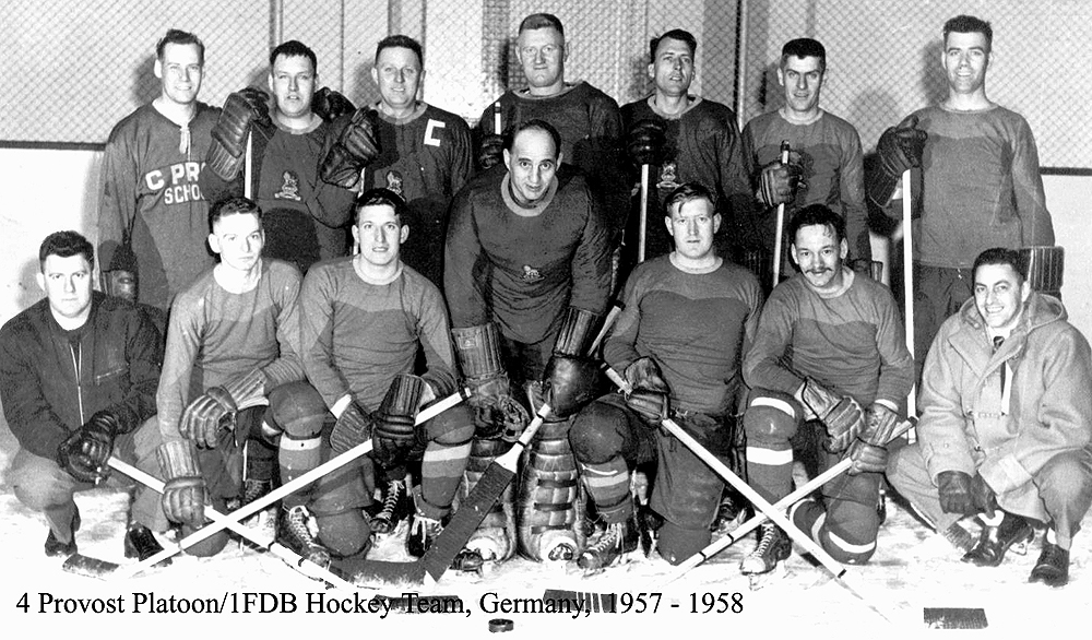 members of the 4 Pro Pl/1FDB Hockey Team, Germany1957 - 58.