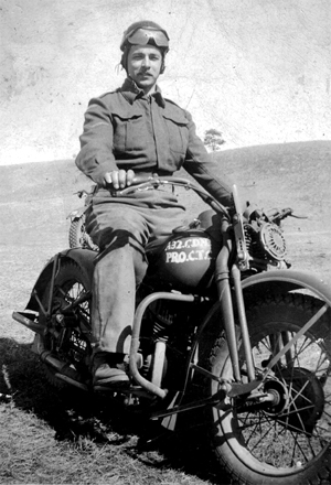 Photo-1 of Provost on Motorcycle training during WWII at CTC Camp Borden - 1943 -45.